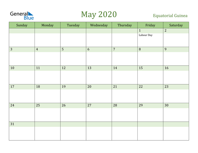 May 2020 Calendar with Equatorial Guinea Holidays