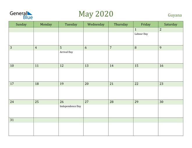 May 2020 Calendar with Guyana Holidays