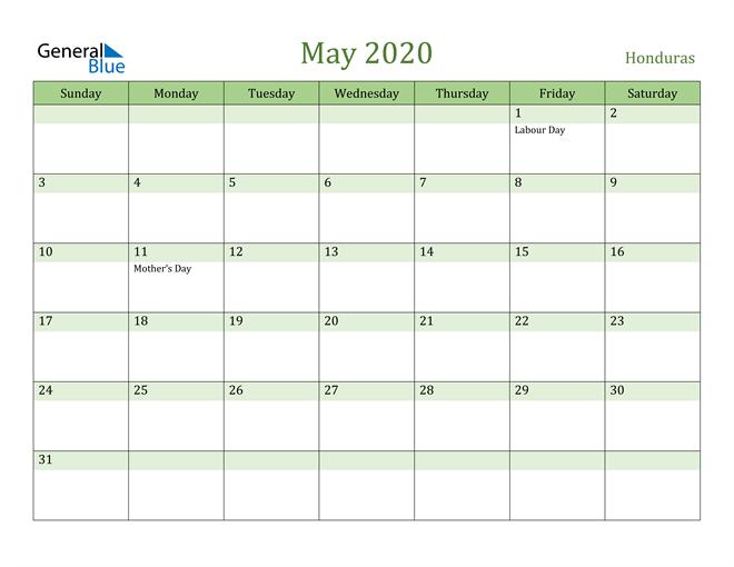 May 2020 Calendar with Honduras Holidays