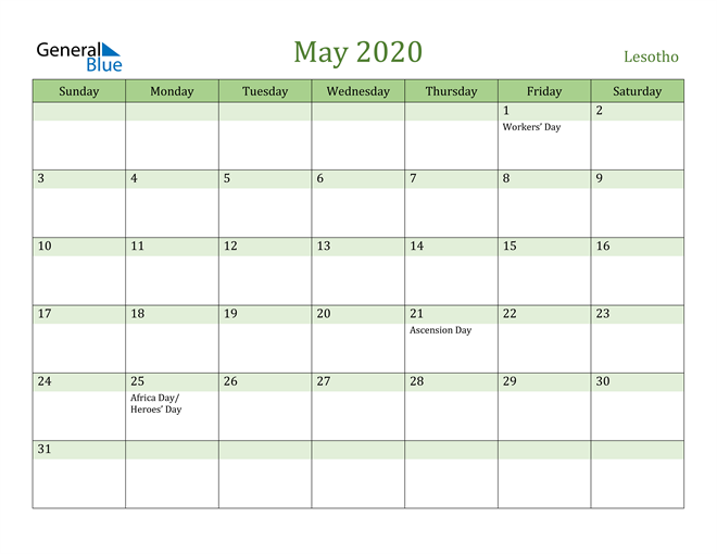 May 2020 Calendar with Lesotho Holidays