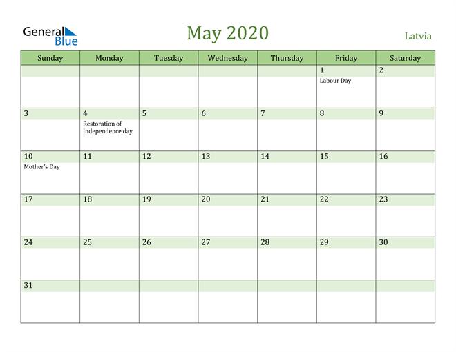 May 2020 Calendar with Latvia Holidays