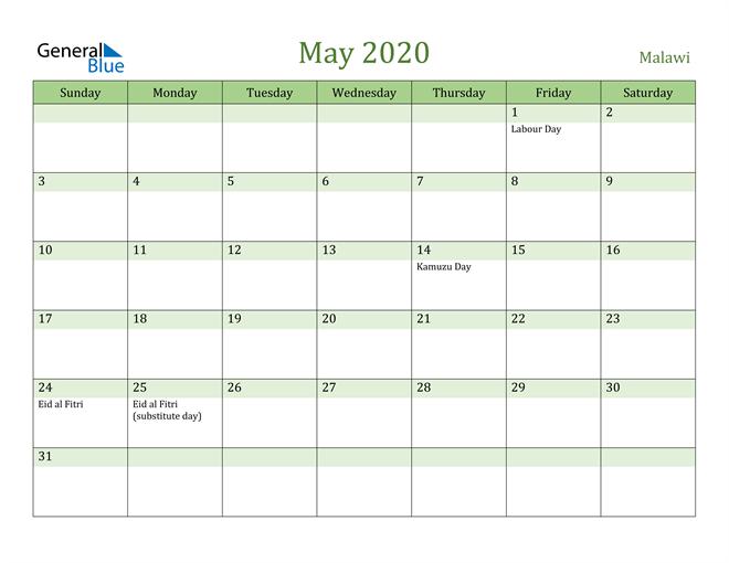 May 2020 Calendar with Malawi Holidays