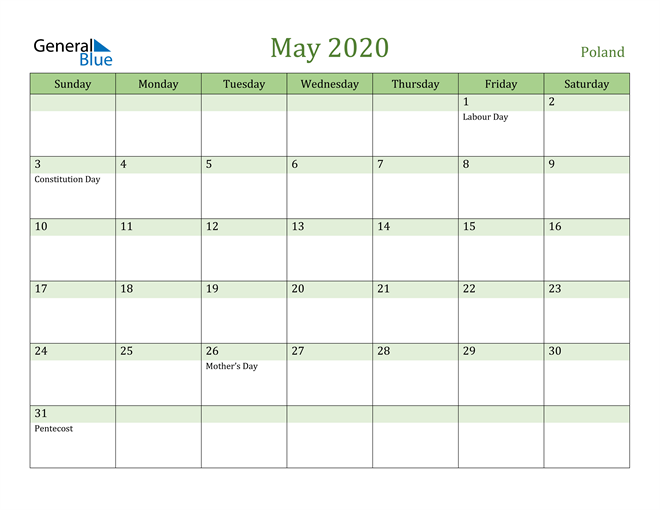 May 2020 Cool and Relaxing Green Calendar Calendar