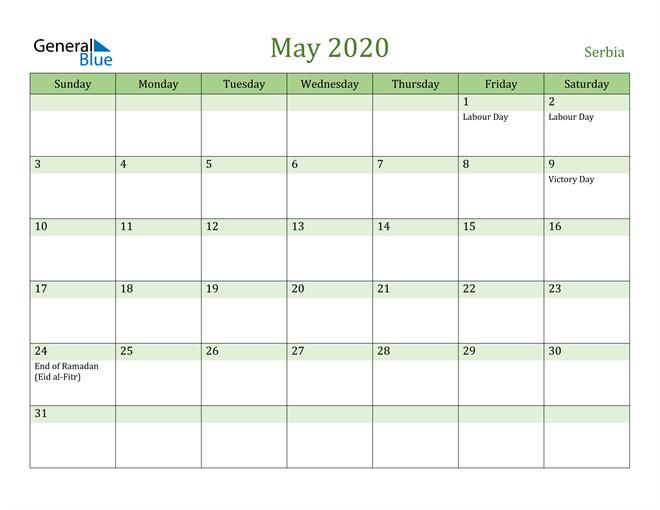 May 2020 Calendar with Serbia Holidays