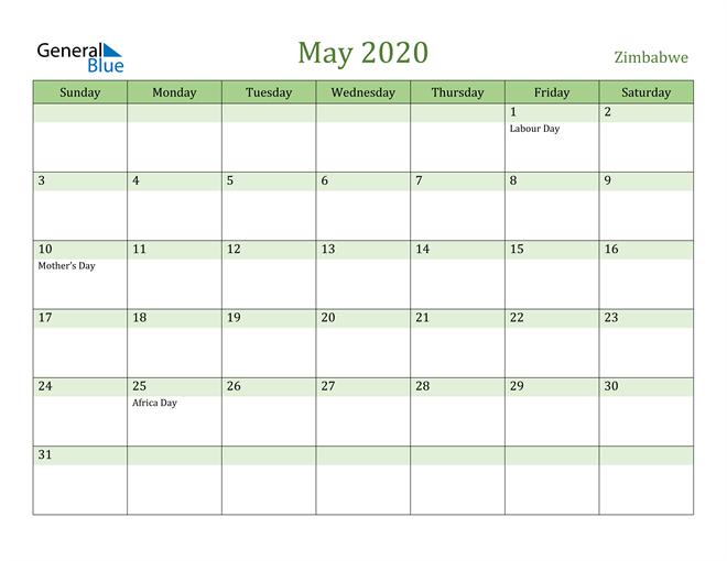 May 2020 Calendar with Zimbabwe Holidays