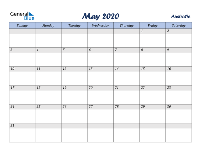 Image of May 2020 Italicized and Cool Blue, A Fun Calendar in PDF, Word and Excel Calendar