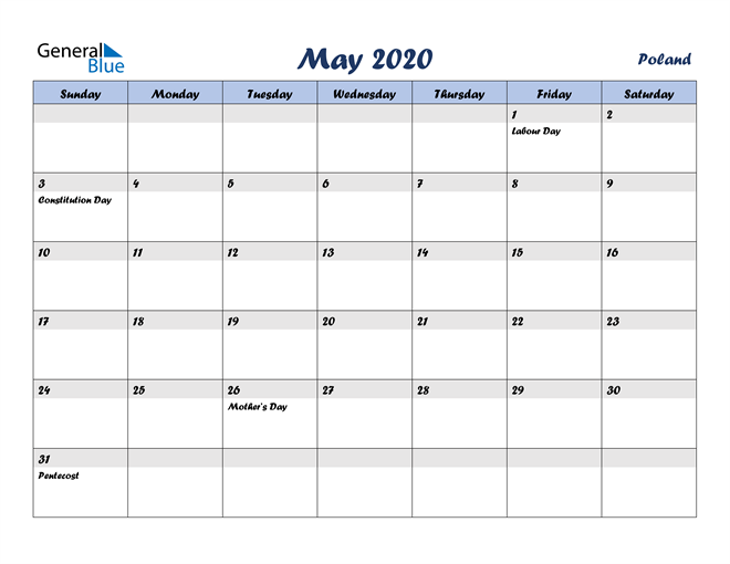 May 2020 Italicized and Cool Blue, A Fun Calendar in PDF, Word and Excel Calendar