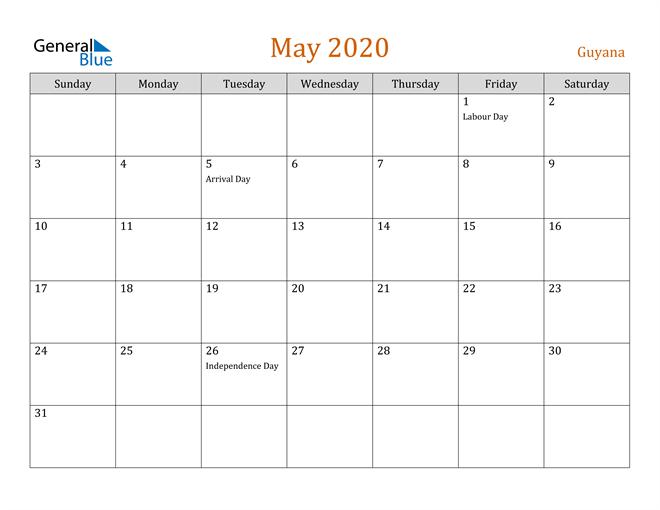 May 2020 Holiday Calendar