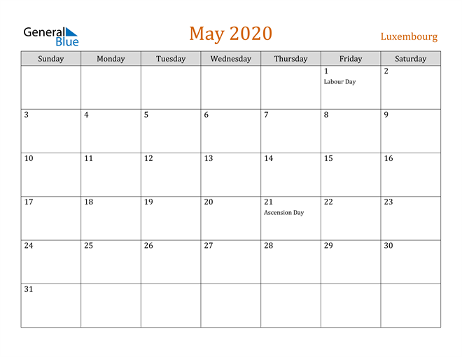 Image of May 2020 Contemporary Orange PDF, Word and Excel Calendar Calendar
