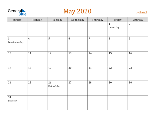 May 2020 Contemporary Orange PDF, Word and Excel Calendar Calendar