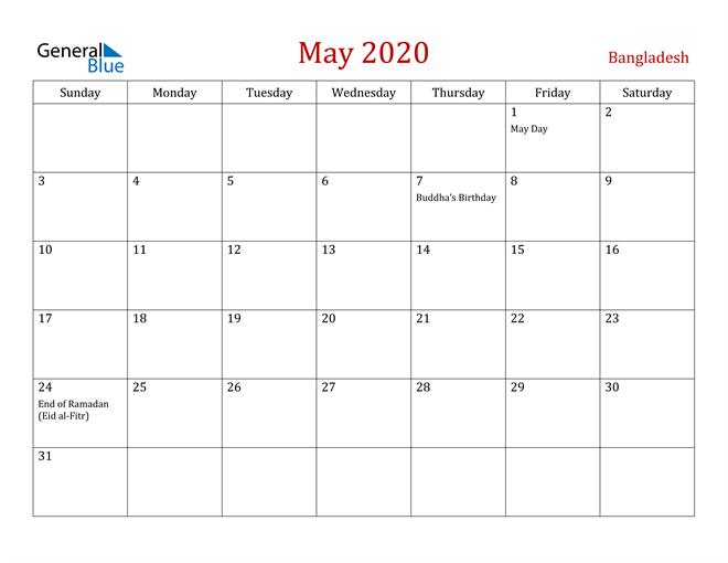 Bangladesh May 2020 Calendar
