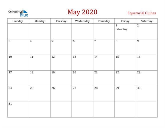 Equatorial Guinea May 2020 Calendar