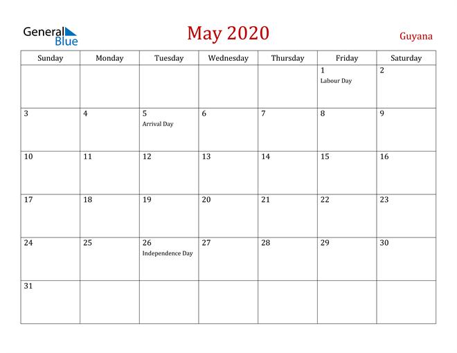 Guyana May 2020 Calendar