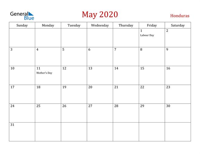 Honduras May 2020 Calendar