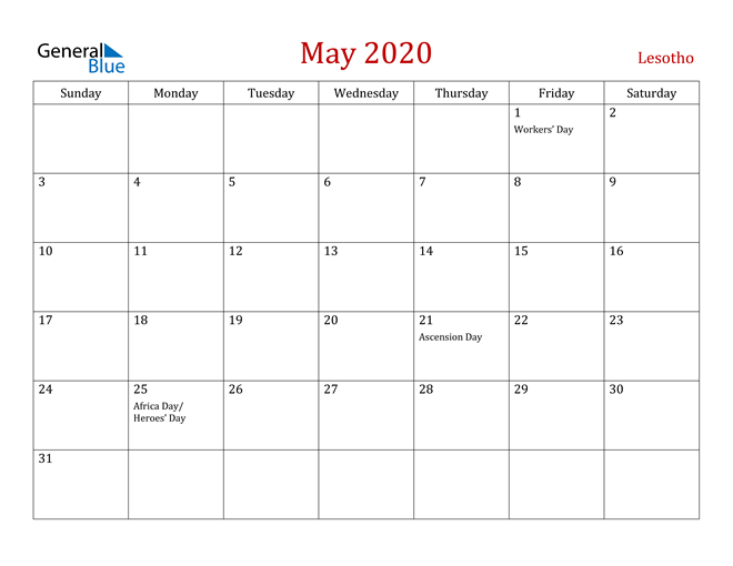 Lesotho May 2020 Calendar