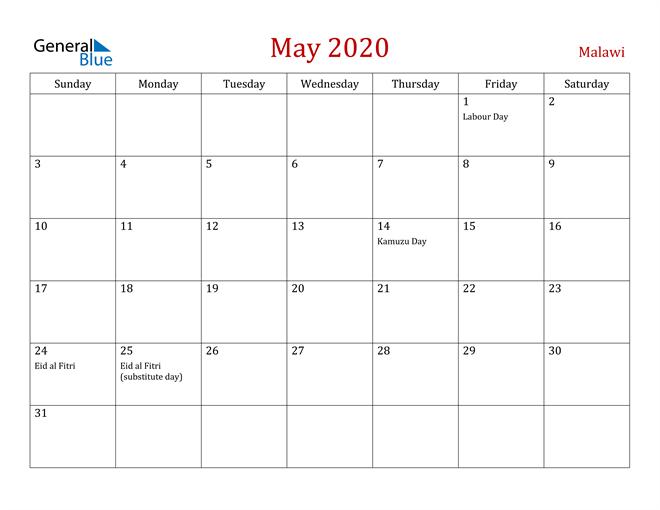 Malawi May 2020 Calendar