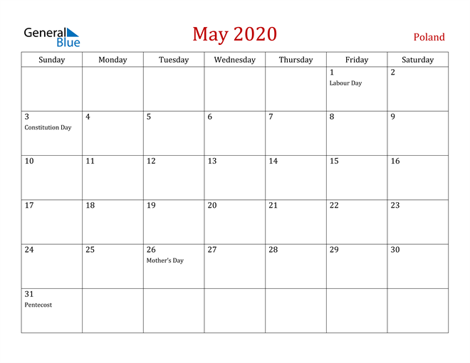May 2020 Dark and Red Professional Office Calendar Calendar