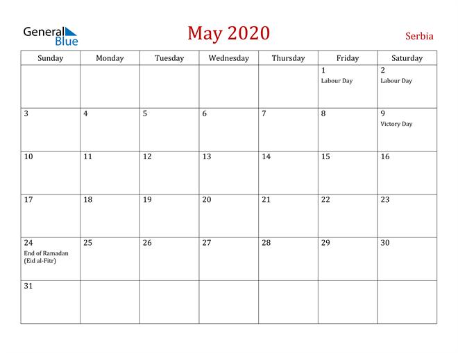 Serbia May 2020 Calendar