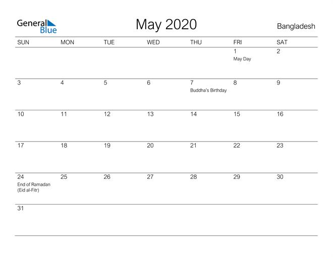 Printable May 2020 Calendar for Bangladesh