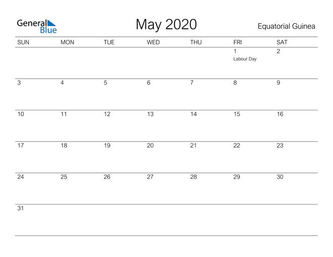 Printable May 2020 Calendar for Equatorial Guinea