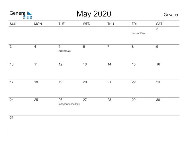 Printable May 2020 Calendar for Guyana