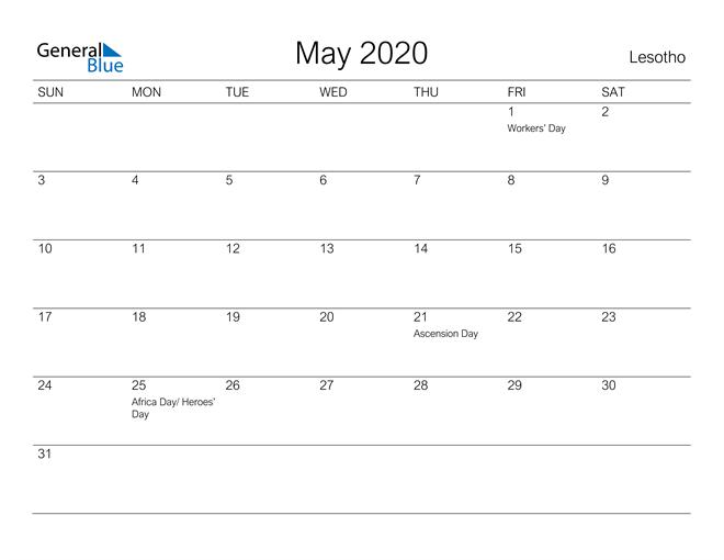 Printable May 2020 Calendar for Lesotho