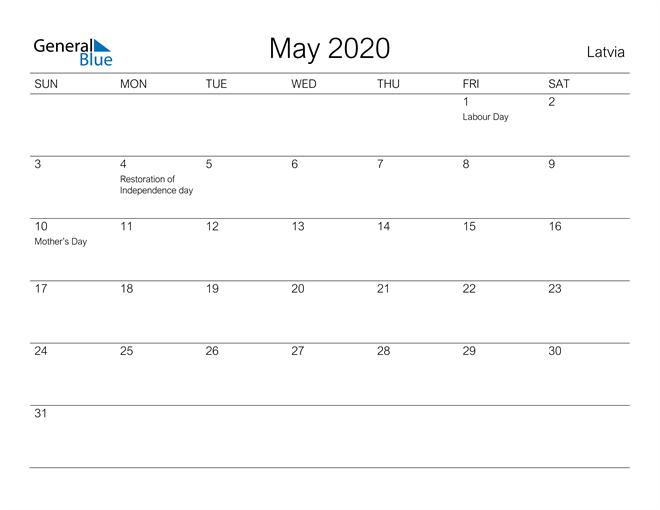 Printable May 2020 Calendar for Latvia