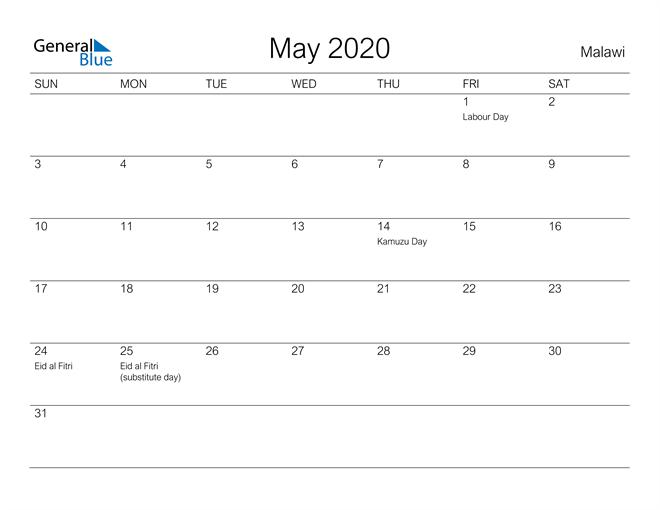 Printable May 2020 Calendar for Malawi