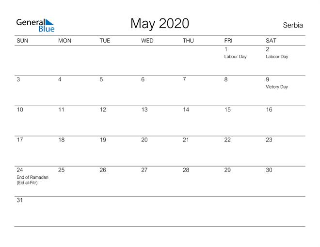 Printable May 2020 Calendar for Serbia