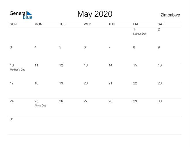 Printable May 2020 Calendar for Zimbabwe