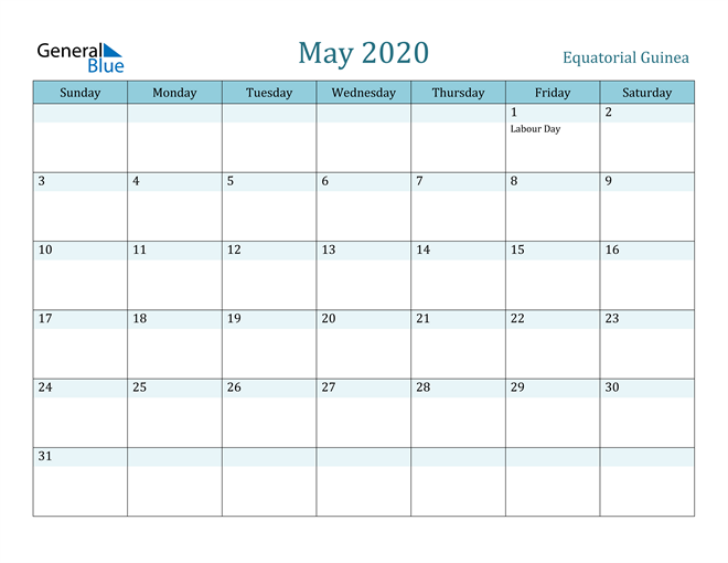 Image of May 2020 Colorful Turquoise Calendar in PDF, Word and Excel Calendar
