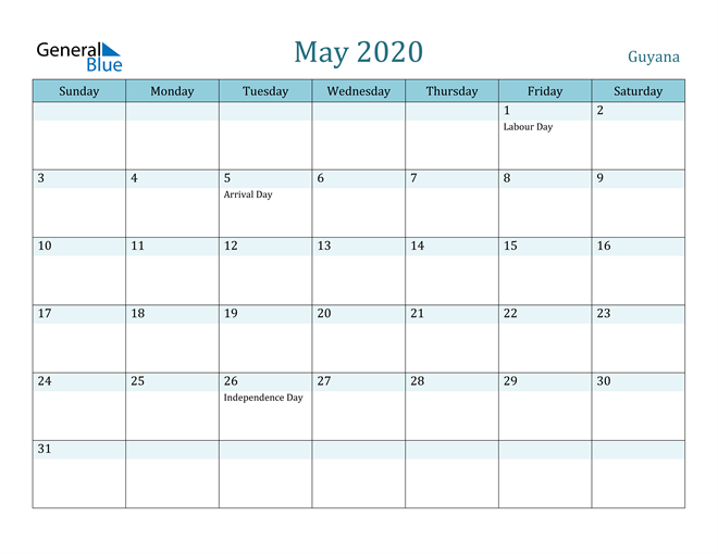 May 2020 Calendar with Holidays in PDF, Word, and Excel