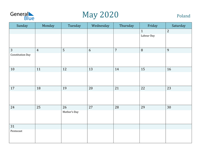 May 2020 Colorful Turquoise Calendar in PDF, Word and Excel Calendar