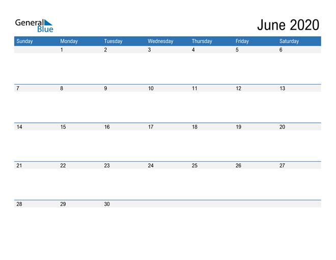 Fillable Calendar for June 2020