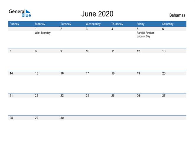 Fillable June 2020 Calendar