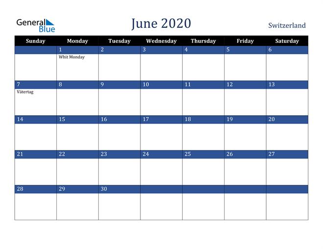 June 2020 Switzerland Calendar