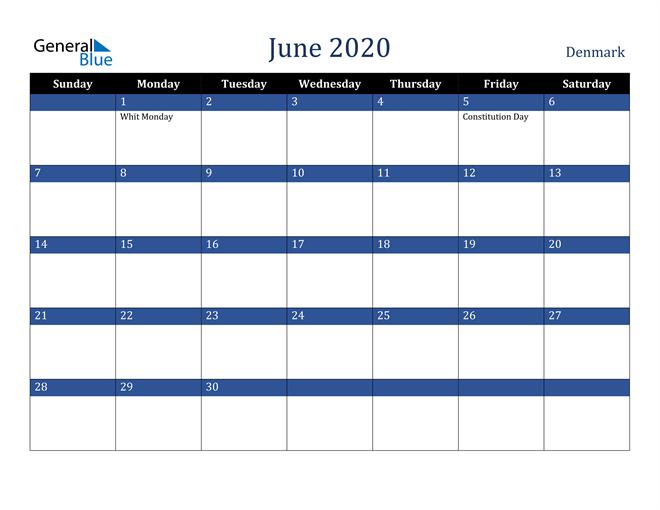 June 2020 Denmark Calendar