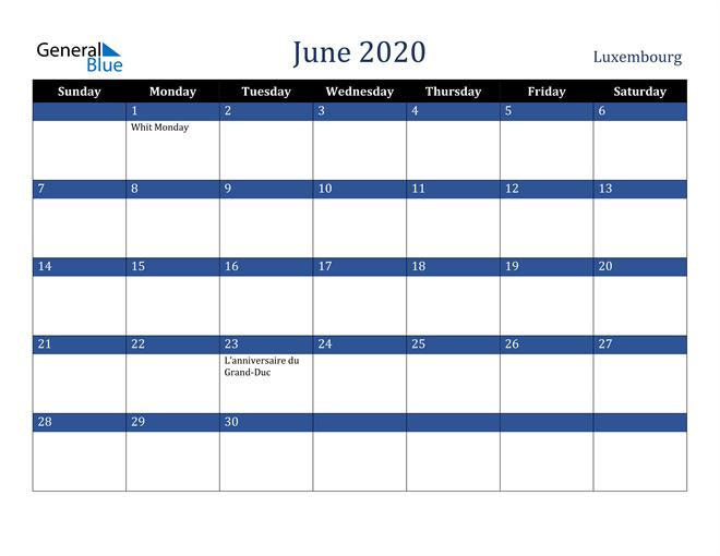 June 2020 Luxembourg Calendar