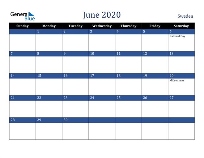 June 2020 Sweden Calendar