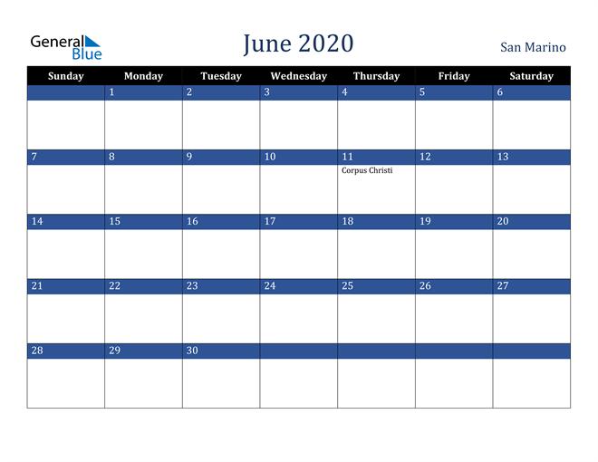 Image of June 2020 Stylish Dark Blue Calendar in PDF, Word and Excel Calendar
