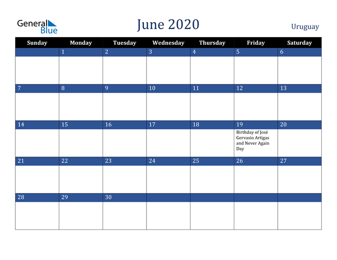 Image of June 2020 Stylish Dark Blue Calendar in PDF, Word and Excel Calendar