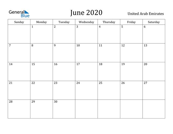 Image of June 2020 United Arab Emirates Calendar with Holidays Calendar