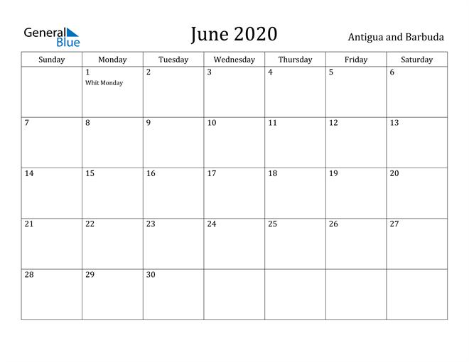 Image of June 2020 Antigua and Barbuda Calendar with Holidays Calendar