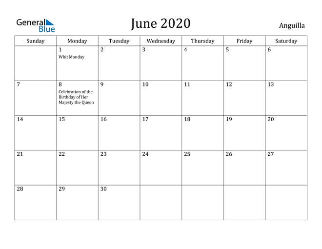 Image of June 2020 Anguilla Calendar with Holidays Calendar