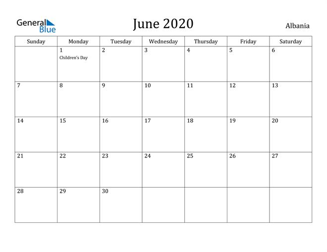 Image of June 2020 Albania Calendar with Holidays Calendar