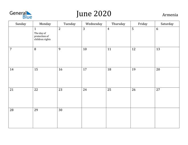 Image of June 2020 Armenia Calendar with Holidays Calendar
