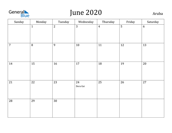 Image of June 2020 Aruba Calendar with Holidays Calendar