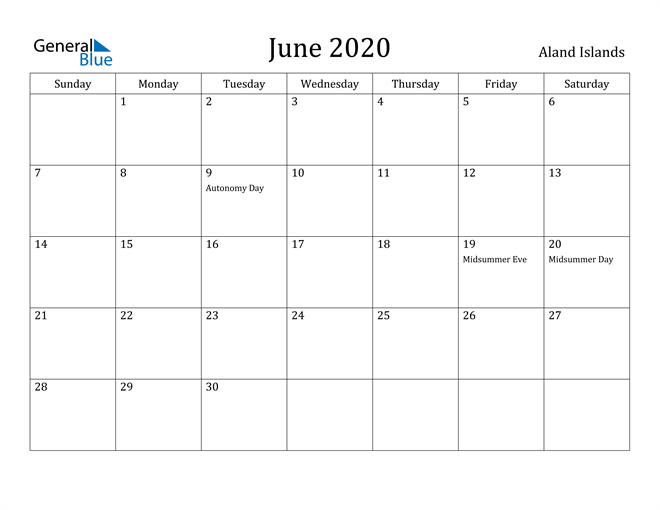 Image of June 2020 Aland Islands Calendar with Holidays Calendar