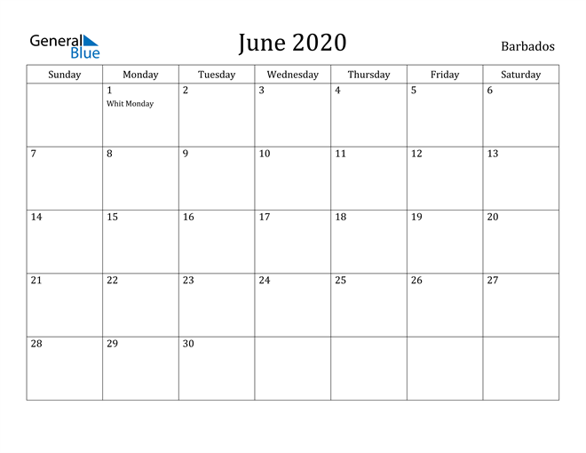 Image of June 2020 Barbados Calendar with Holidays Calendar