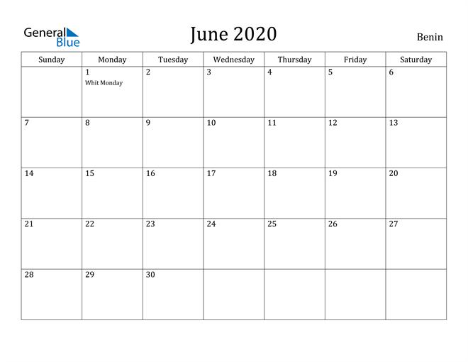 Image of June 2020 Benin Calendar with Holidays Calendar